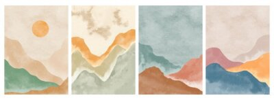 Poster Natural abstract mountain on set. Mid century modern minimalist art print. Abstract contemporary aesthetic backgrounds landscape. vector illustrations