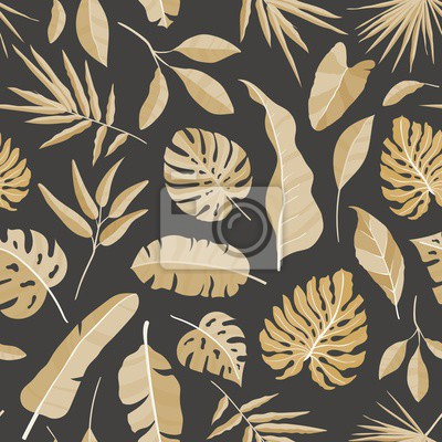 Poster Natural seamless pattern with tropical foliage. Backdrop with leaves of jungle plants and exotic palm branches. Monochrome realistic vector illustration for fabric print, wrapping paper, wallpaper.