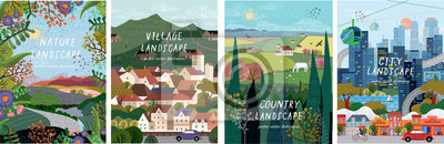 Poster Nature, village, country, city landscapes. Vector illustration of natural, urban and rustic background for poster, banner, card, brochure or cover.