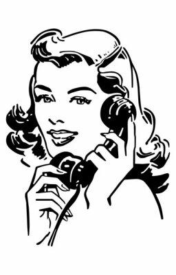 Poster Nette Gal Am Telefon