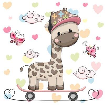 Poster Nette Giraffe mit Skateboard