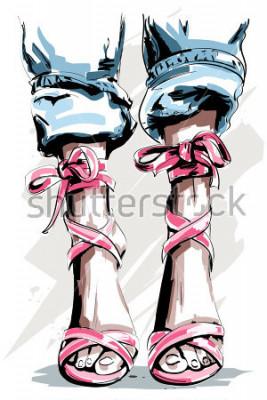 Poster Nette Hand gezeichnete Beine in den Schuhen. Schöne Sommerschuhe. Mode-Accessoires. Skizzieren. Vektor-Illustration