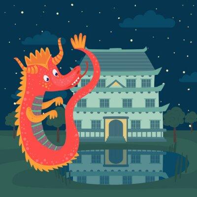 Poster Netter roter Drache nahe bei einem Schloss nachts, Märchengeschichte für Kindervektor Illustration