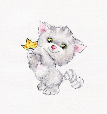 Poster Nettes Kätzchen mit Schmetterling