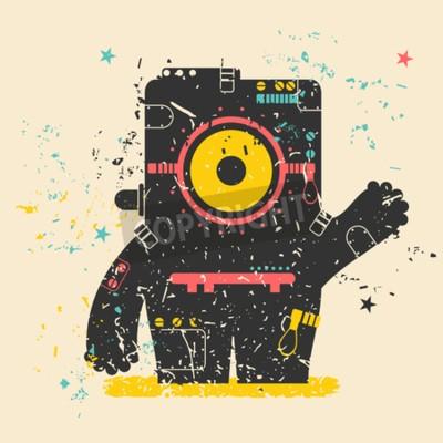 Poster Nettes Monster auf Retro- Grunge