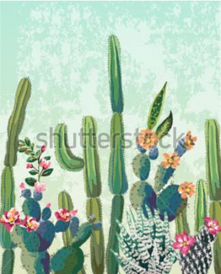 Poster Nettes Succulentskaktus-Vektormuster