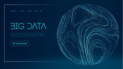 Poster Network futuristic background. Global Big Data Cloud. Abstract digital technology background. Sphere lines vector illustration.