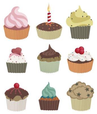 Poster Neun kleine Kuchen. Vektor-Illustration von neun köstliche Cupcakes.