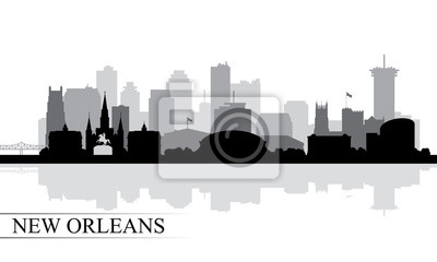 New Orleans Stadt Skyline Silhouette Hintergrund
