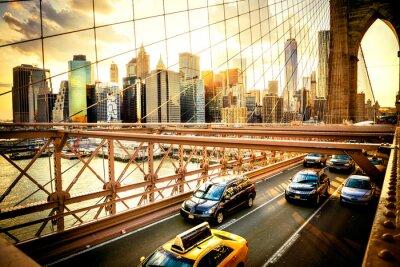 Poster New York City, Brooklyn Bridge skyline