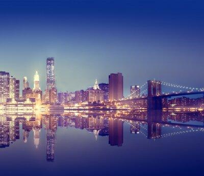 Poster New York City Lights Scenic Bridge View Concept