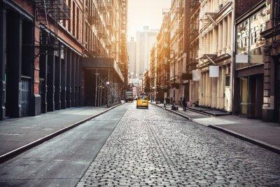 Poster New York City Manhattan SoHo street at sunset time background