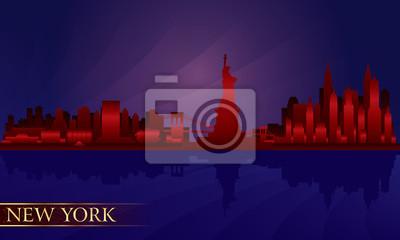 New York City Skyline Nacht detaillierte Silhouette