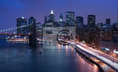 Poster New York City und Brooklyn-Brücke bei Nacht
