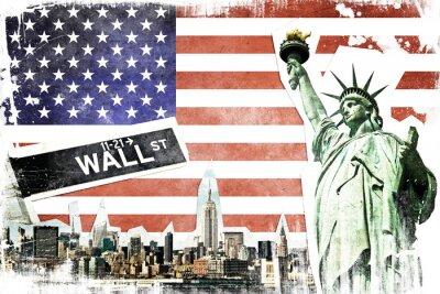 Poster New York City Vintage Collage, US-Flagge Hintergrund