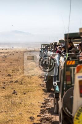 Ngorongoro crater, Tanzania - Ago 23rd 2015 - A long line of safari trucks with tourists parking inside the Ngorongoro crater national park in Tanzania