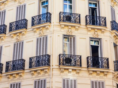 Nice, France, October 8, 2019. A view from a window of a typical city street in an area of historic development.