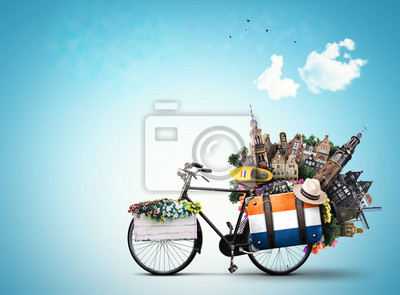 Poster Niederlande, ein Stadtrad mit niederländischen Attraktionen