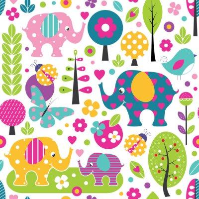 Poster Niedliche Elefanten, Marienkäfer, Schmetterlinge und Vögel in einem bunten Waldmuster