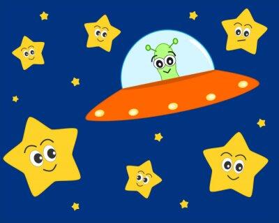 Poster niedliche ufo ausländische Karikatur in den Raum mit süßen reizenden Sternen Vektor-Illustration für Kinder