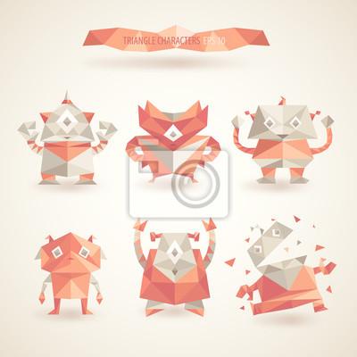 niedlichen Figuren Roboter durch Dreiecke, Polygon-Illustration Reihe