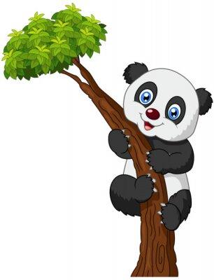 Poster Niedlichen Panda Cartoon Kletterbaum