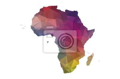 Poster Niedrigen Poly Afrika Karte
