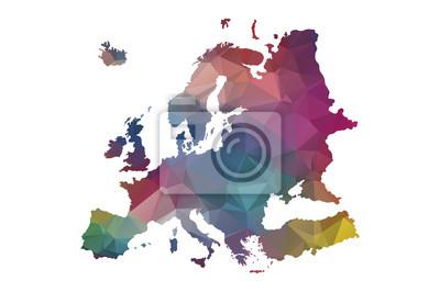 Poster Niedrigen Poly-Europa-Karte