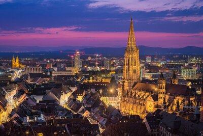 Night skyline of Freiburg im Breisgau, Germany