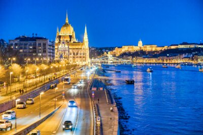 Night view of Hungarian Parliament, Budapest