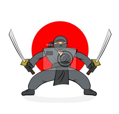 Poster Ninja mit zwei Schwertern. Karikaturabbildung