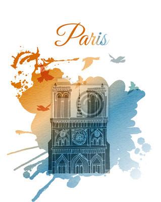 Notre Dame. Aquarell Vektor Hintergrund von Paris