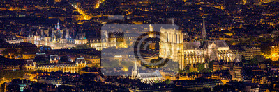 Poster Notre Dame de Paris cathedral, France. Notre Dame de Paris Cathedral, most beautiful Cathedral in Paris. Picturesque sunset over Cathedral of Notre Dame de Paris, destroyed in a fire in 2019, Paris.