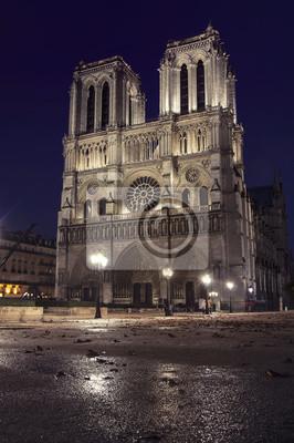 Notre Dame de Paris, Frankreich in der Nacht nach dem regen