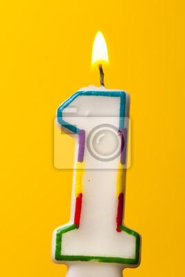 Nummer 1 Geburtstag Feier Kerze Gegen Einen Hellen Gelben