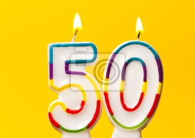 Nummer 50 Geburtstag Feier Kerze Gegen Einen Hellen Gelben