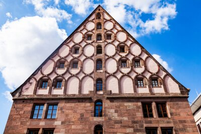 Nuremberg, Germany, on August 21, 2018. A fragment of a typical architectural complex in the old city