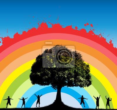 Oak Tree mit Happy Kids Silhouetten auf Regenbogen Splashy