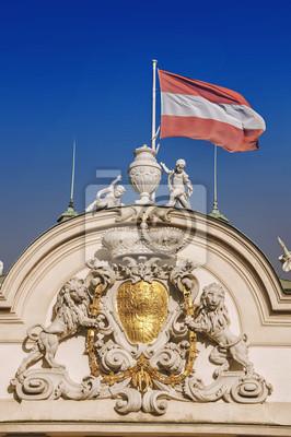 Ober Palace mit österreichischer Flagge in Belvedere, Wien, Österreich