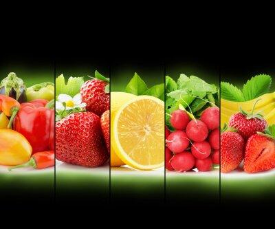 Poster Obst-und Gemüsestreifen Sammlung auf schwarzem Hintergrund