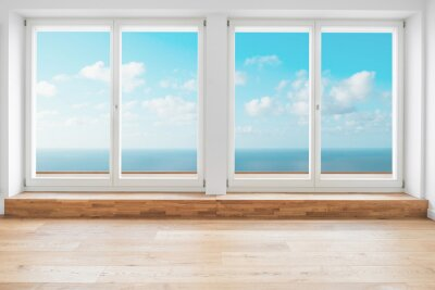 Poster ocean view window in modern apartment room - penthouse with ocean view terrace