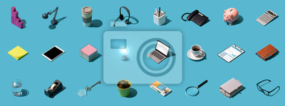 Poster Office and business objects background