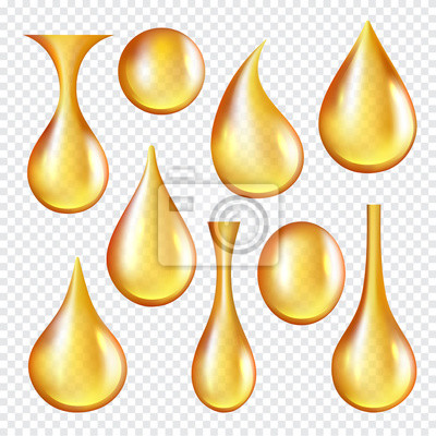 Poster Oil transparent drops. Yellow liquid golden oil vector realistic collection of splashes. Transparent oil liquid, golden drop realistic isolated illustration