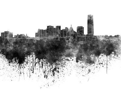 Oklahoma City Skyline in schwarzem Aquarell