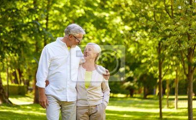 Poster old age, relationship and people concept - happy senior couple hugging in city park