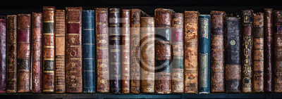 Poster Old books on wooden shelf. Tiled Bookshelf background.  Concept on the theme of history, nostalgia, old age. Retro style.