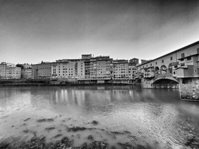 Old Bridge and Florence Lungarni at dusk, Italy