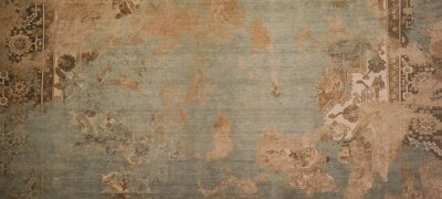 Poster Old brown gray rusty vintage worn shabby patchwork motif tiles stone concrete cement wall texture background banner