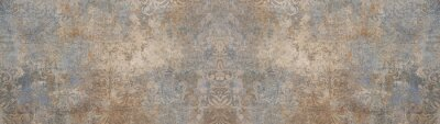 Poster Old brown gray vintage shabby patchwork motif tiles stone concrete cement wall texture background banner