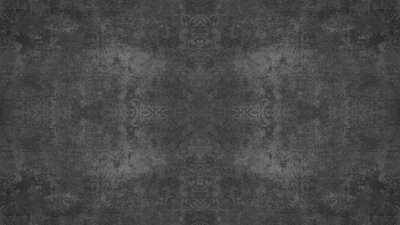Poster Old dark black anthracite gray grey vintage shabby patchwork damask ornate motif tiles stone concrete cement wall wallpaper texture background